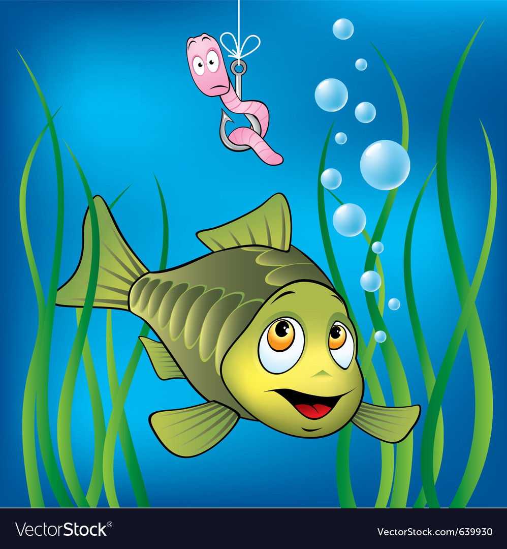Funny fish and worm vector image