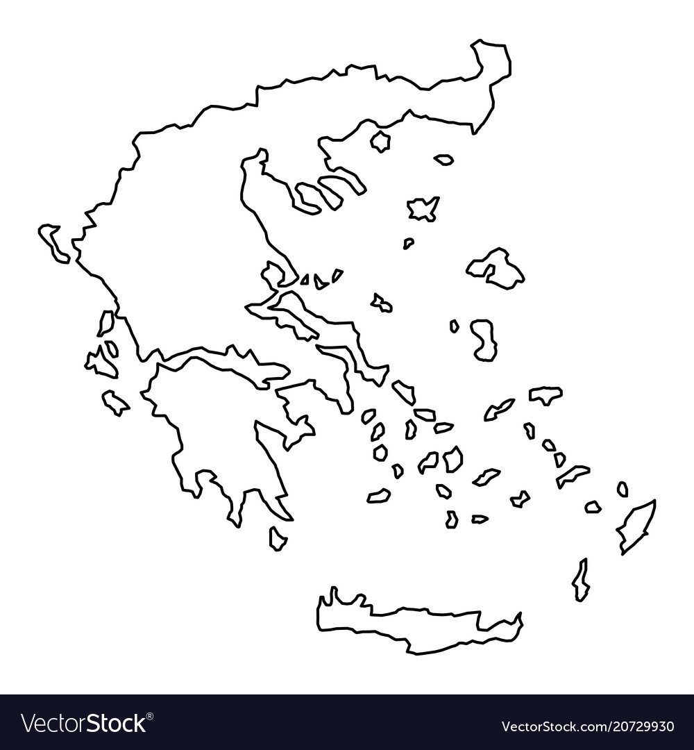 Greece map of black contour curves of vector image