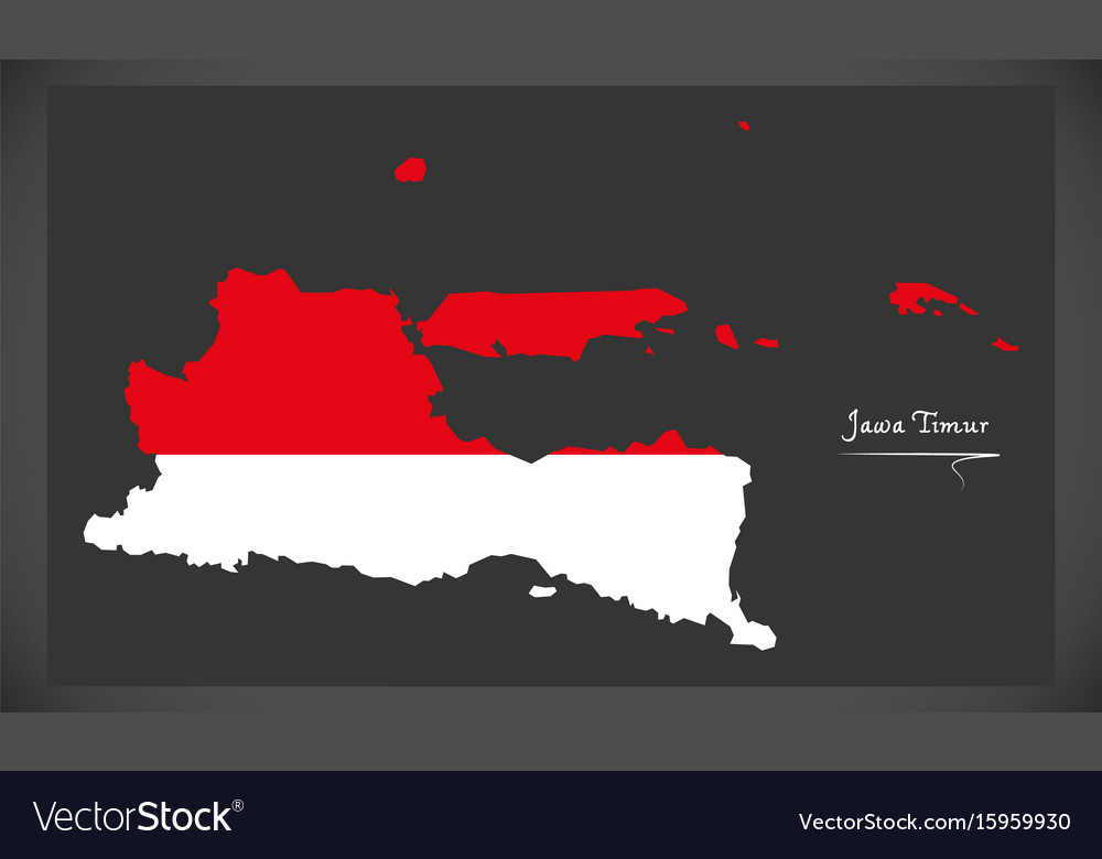 Jawa timur indonesia map with indonesian national