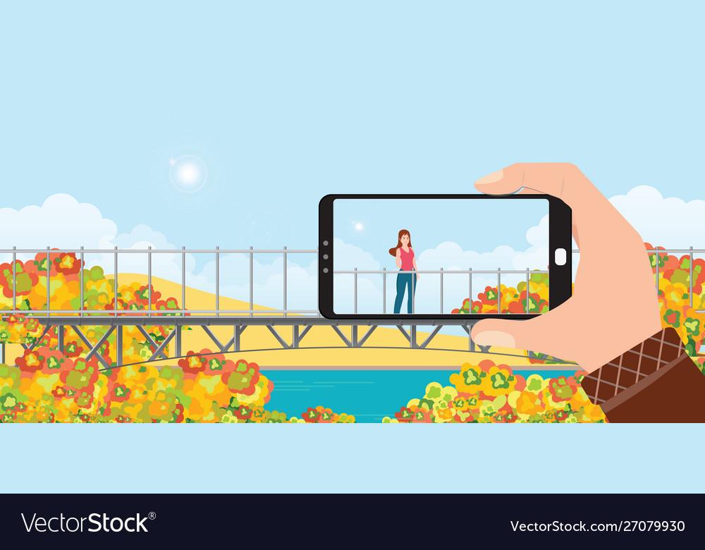 Make a photo woman landscape smartphone in