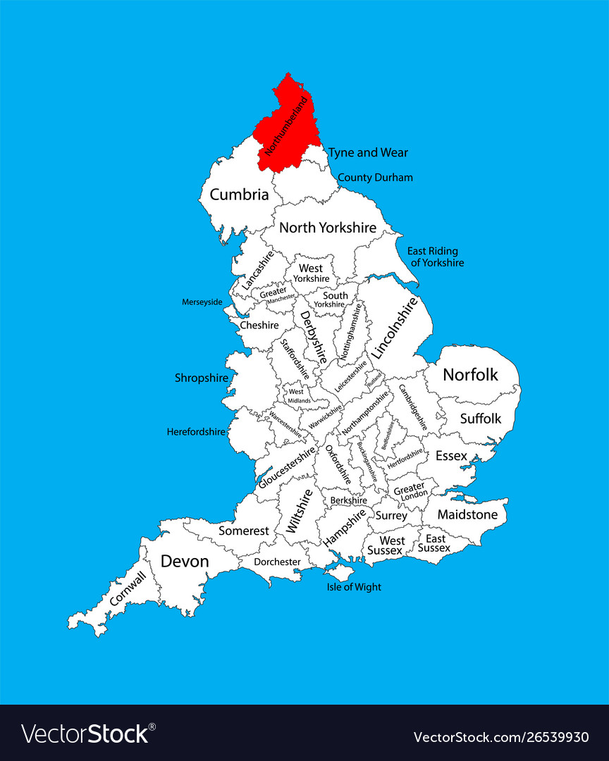 County Map Of England.Northumberland County Map North East England Uk