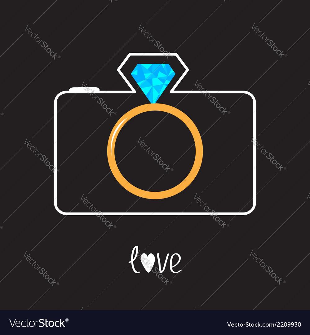 Photo camera and gold wedding ring lens Diamond