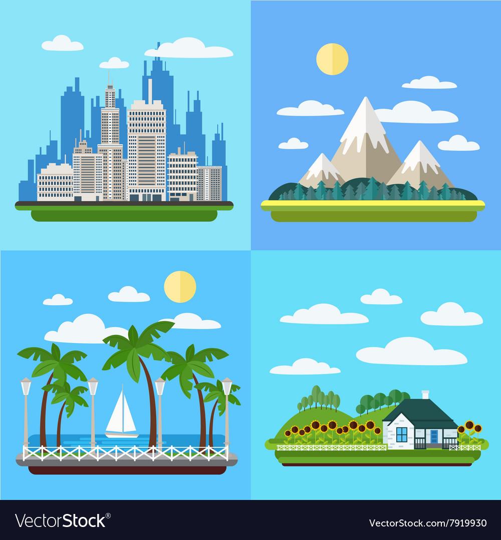 Set of Landscapes - Megapolis Mountains Seaside