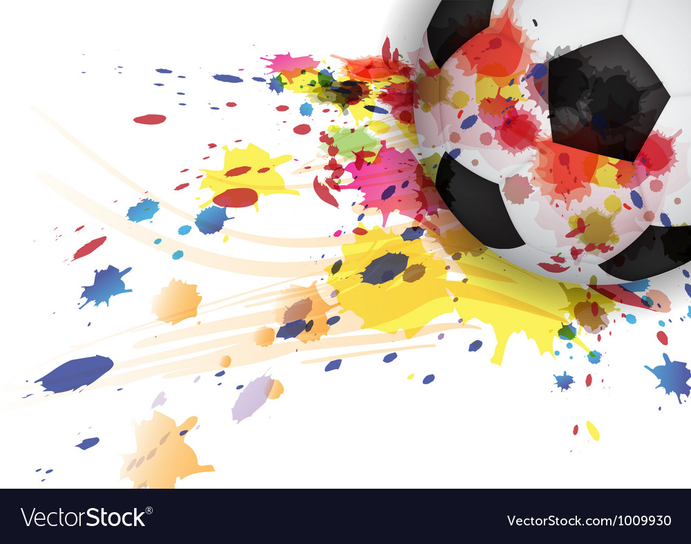 Soccer ball ink splash design background vector image
