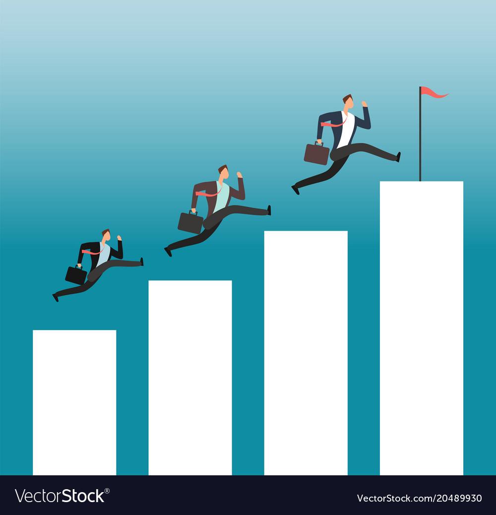 Team reaching goal successful people running on