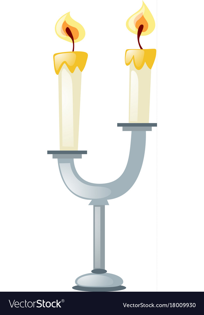 two candles on candle stand royalty free vector image