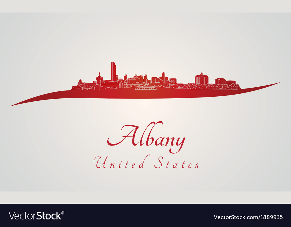 Albany skyline in red
