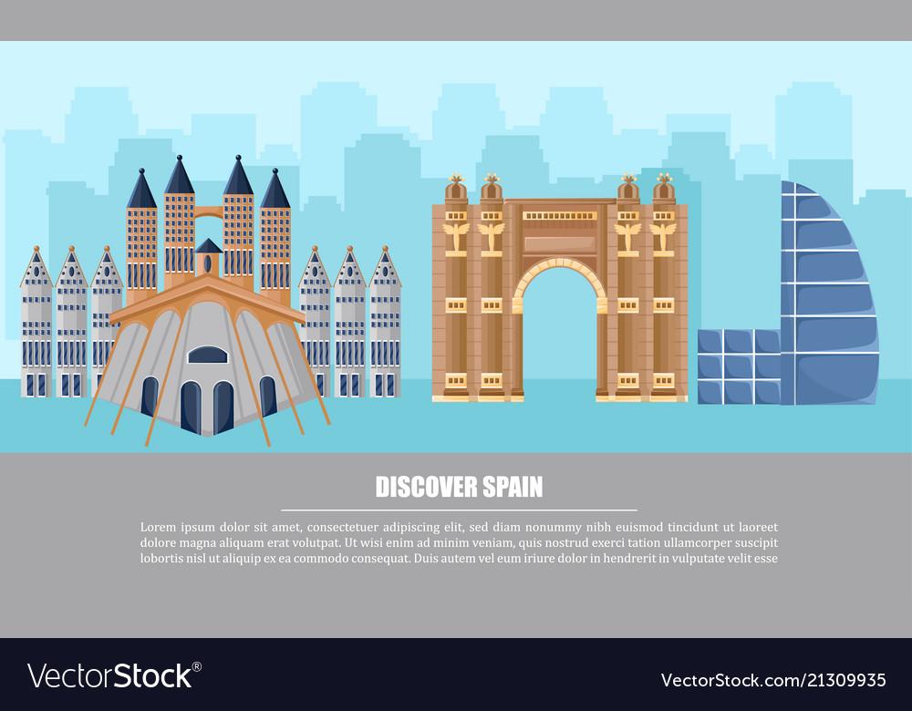Barcelona city architecture card famous