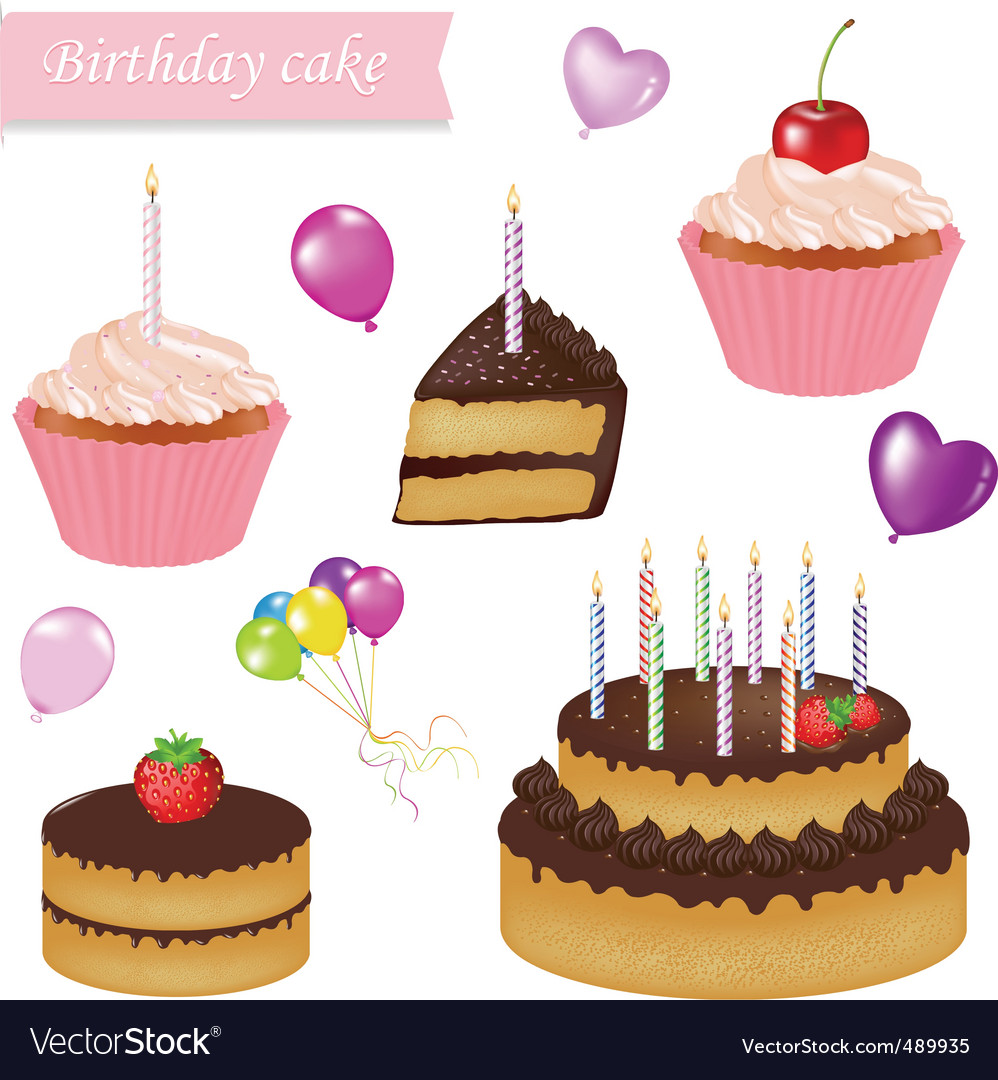 Astounding Birthday Cake Set Royalty Free Vector Image Vectorstock Personalised Birthday Cards Paralily Jamesorg