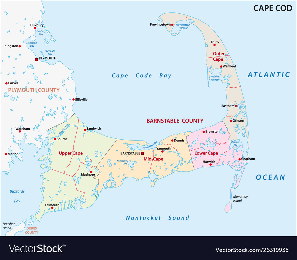 Cape cod administrative and political map usa Vector Image Cape Cod Map on