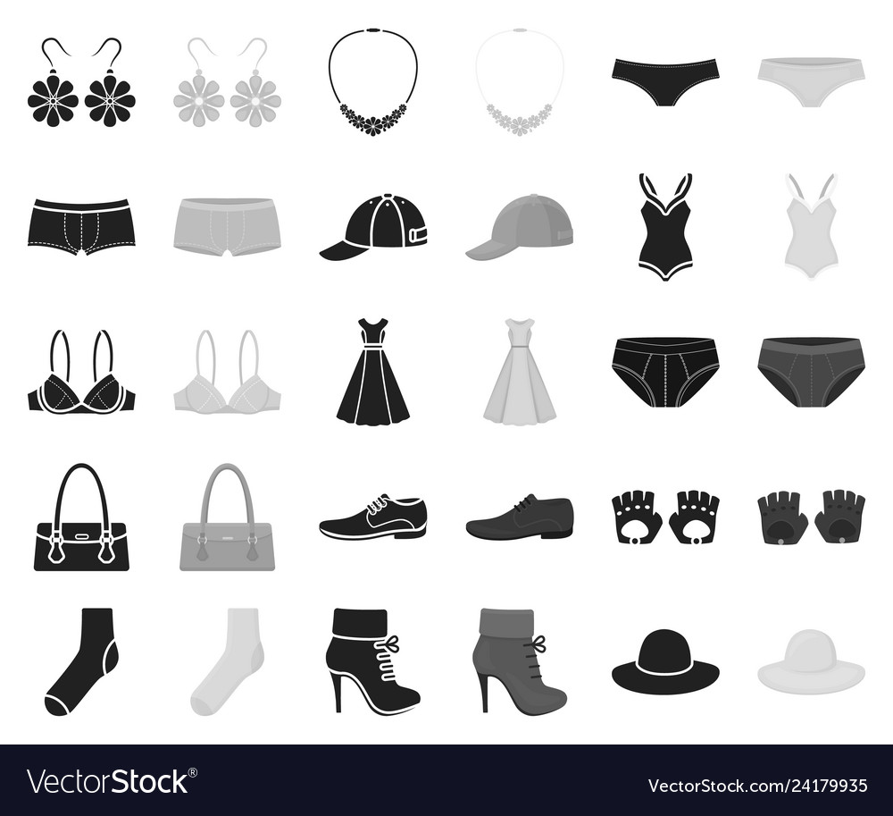 Clothes and accessories blackmonochrome icons in