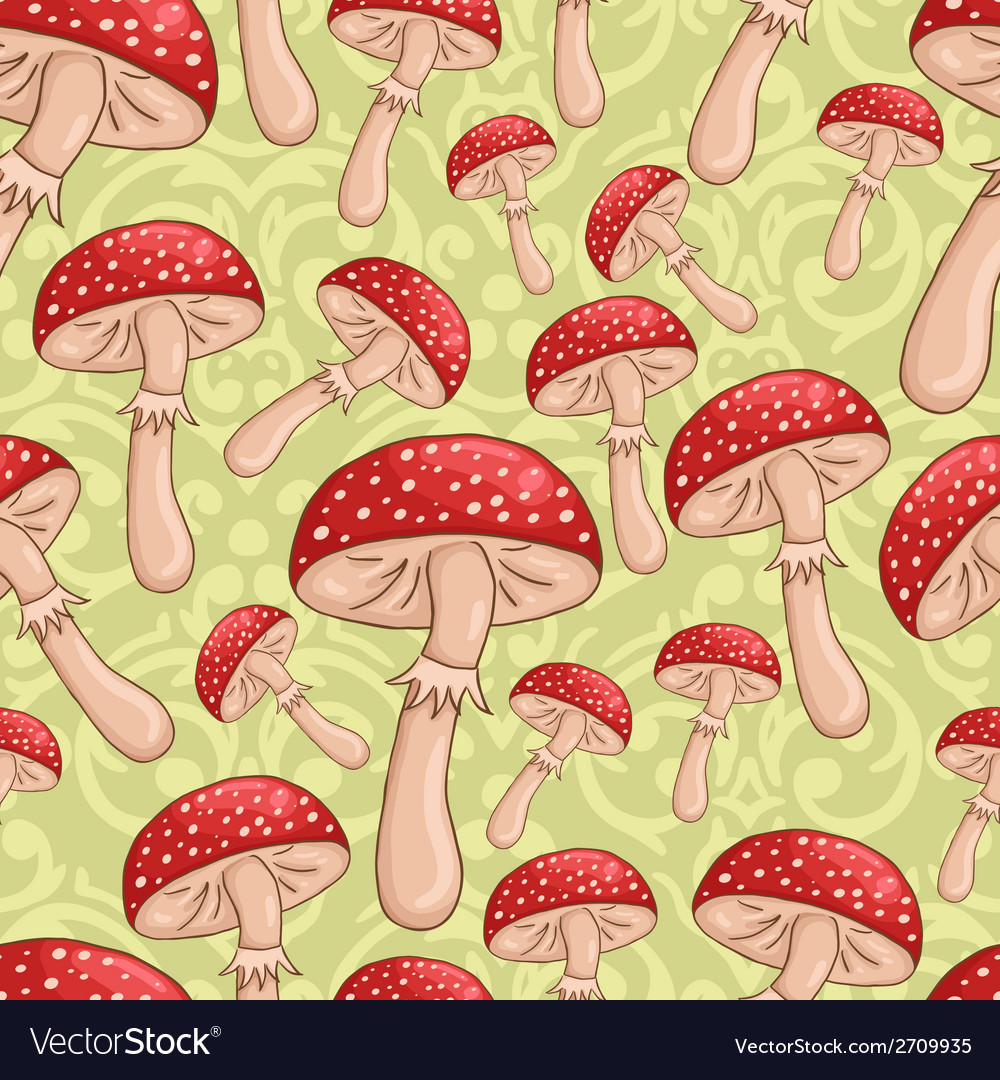 Cute sketch amanita mushrooms background