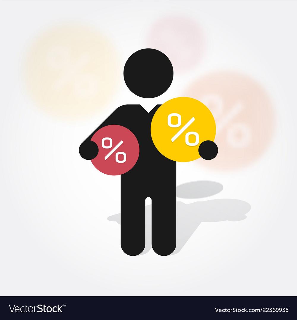 Figure man holds symbol percent discounts