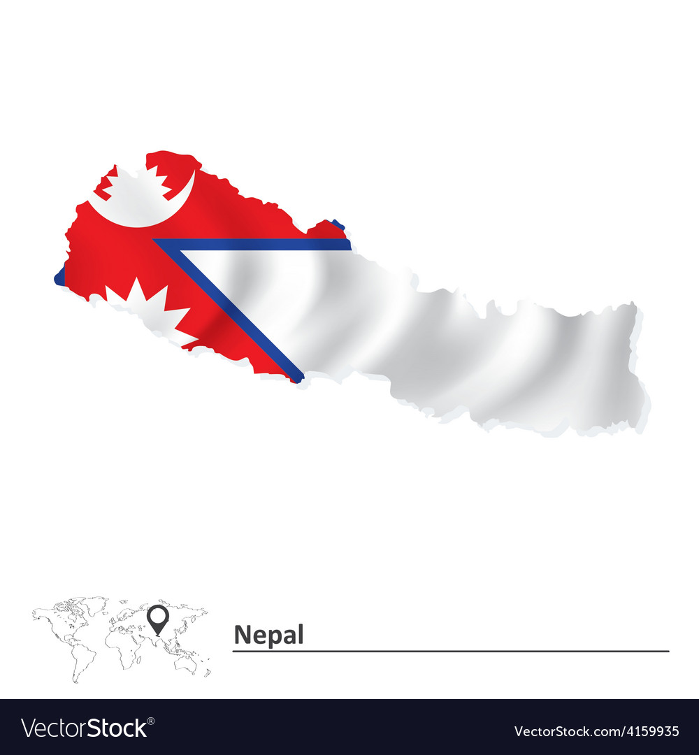 Map of Nepal with flag