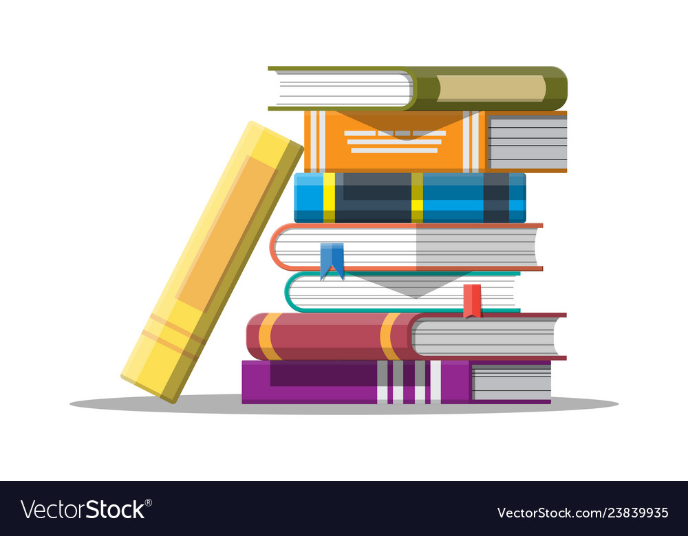 Pile of books in hand