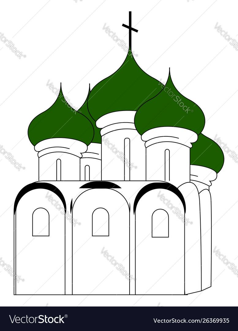 Russian church with green roon white