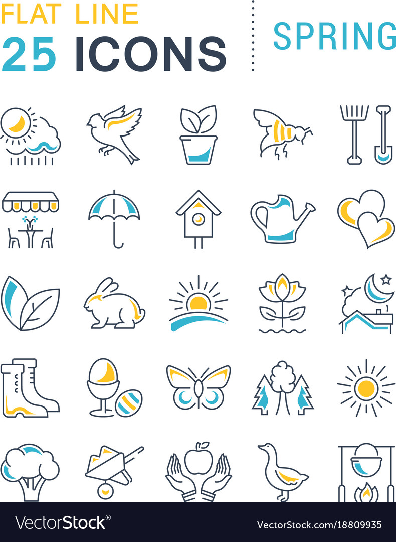 Set flat line icons spring