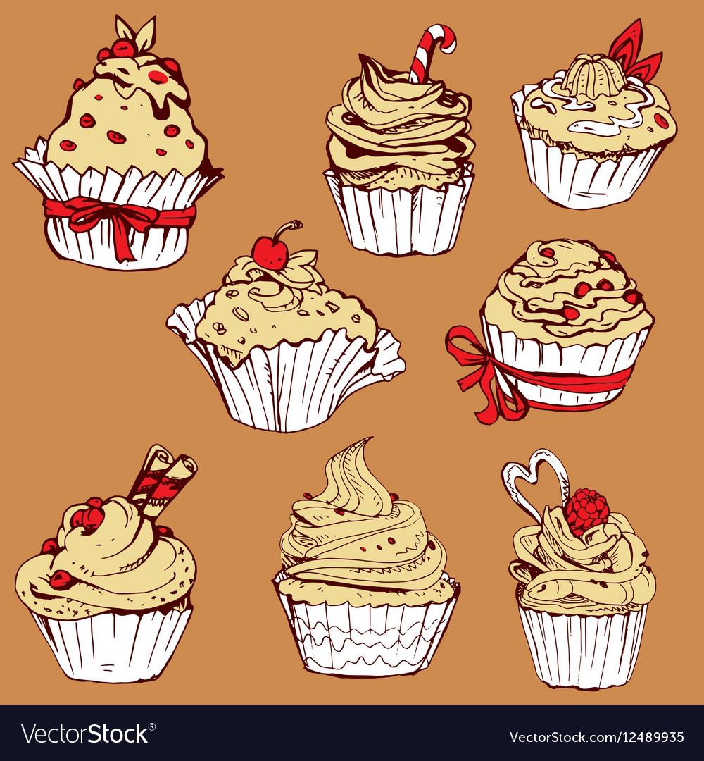 Set of hand drawn decorated sweet cupcakes