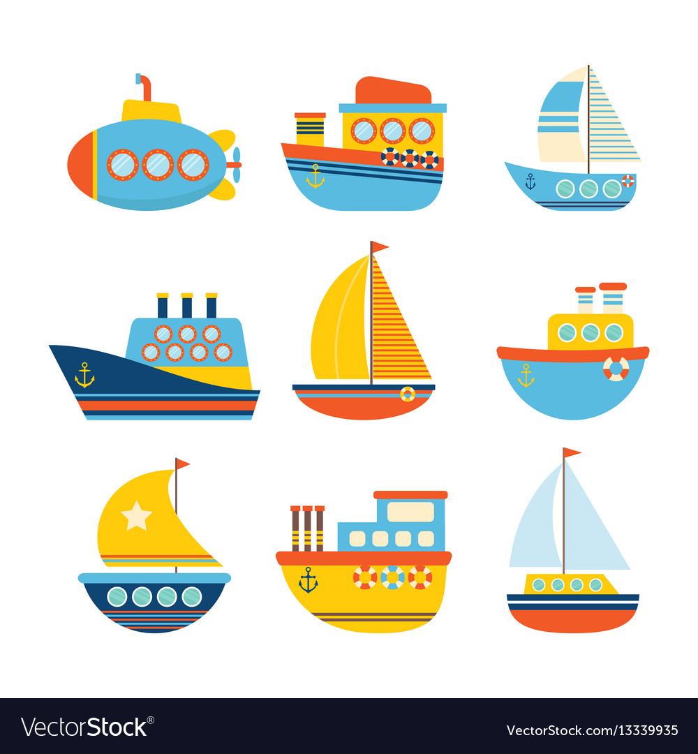 Set of sea transport different kind of boats