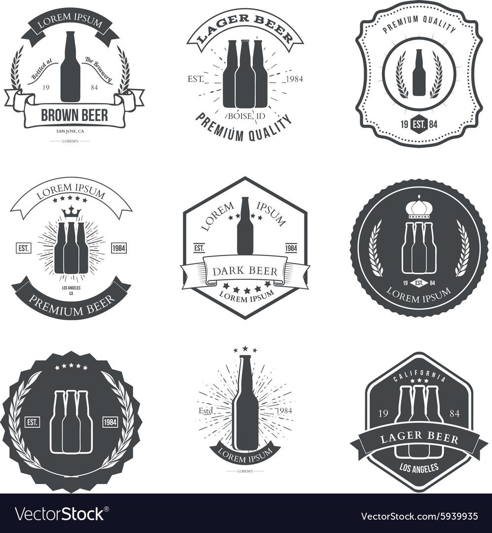 Set of vintage beer labels and design elements