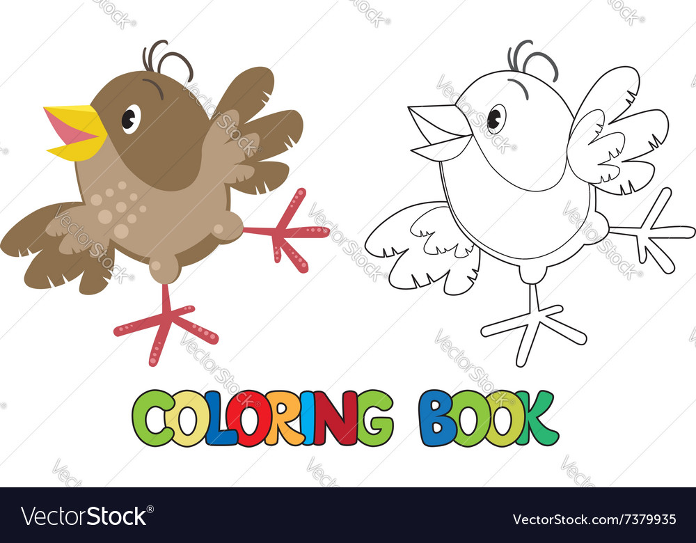 Small funny sparrow coloring book