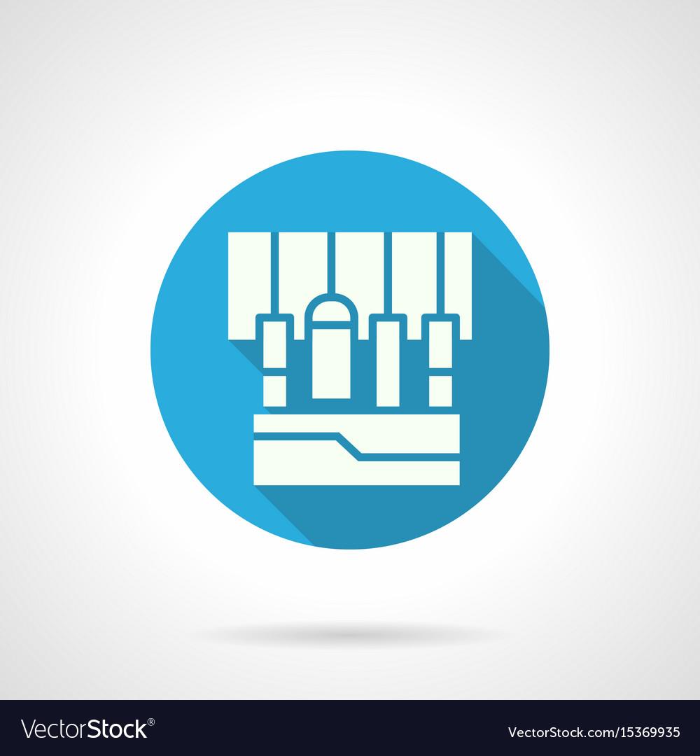 Sound equipment blue round icon
