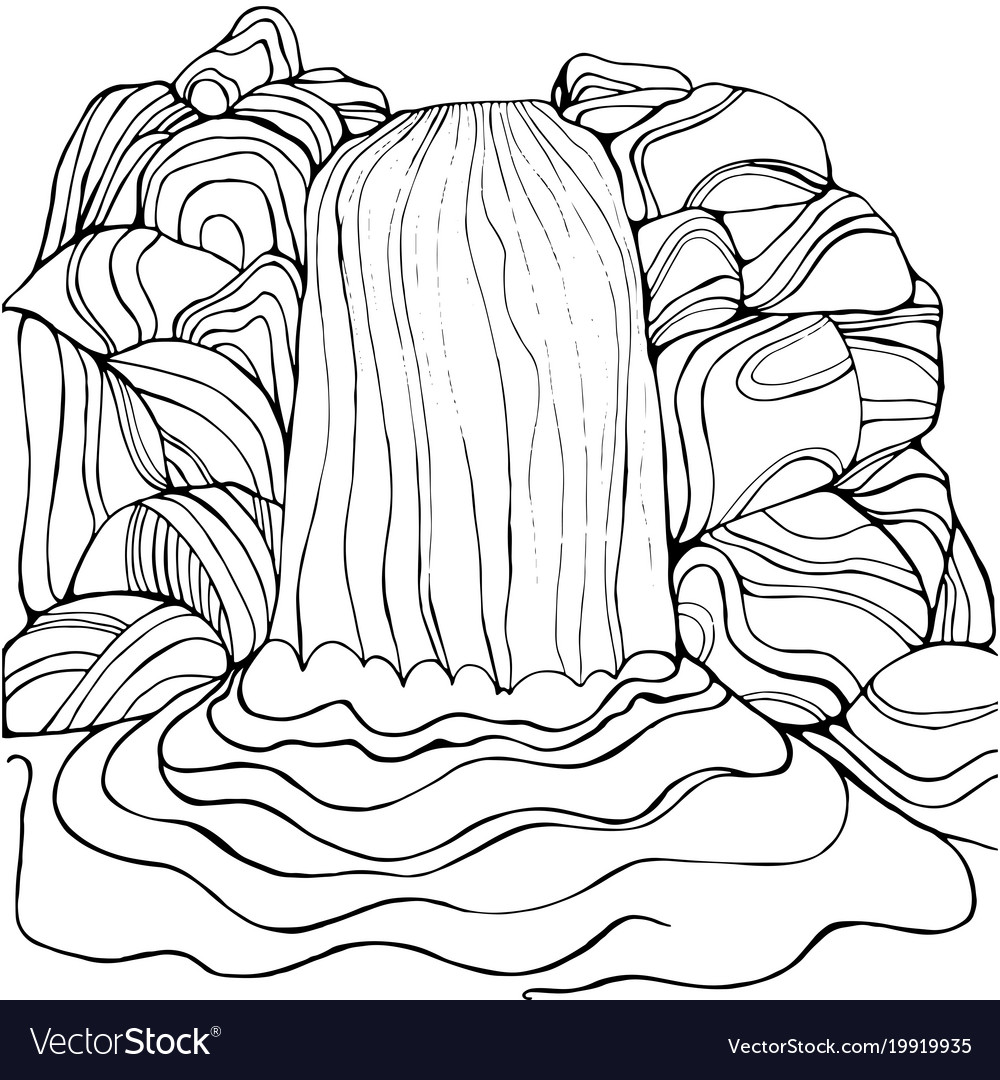 waterfall coloring pages Waterfall coloring page for children and adults Vector Image waterfall coloring pages