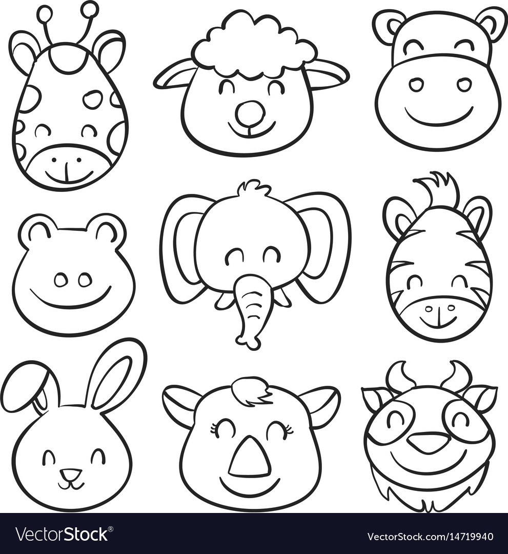 Animal head hand draw doodles vector image