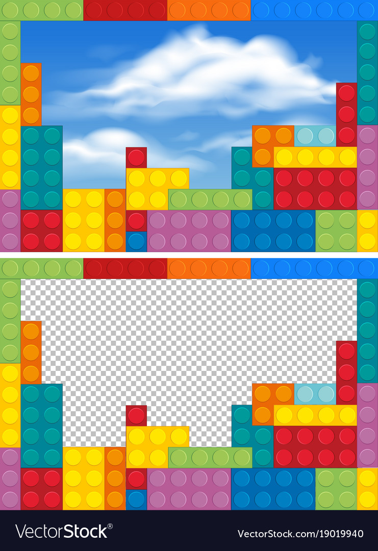 Border templates with colorful blocks Royalty Free Vector