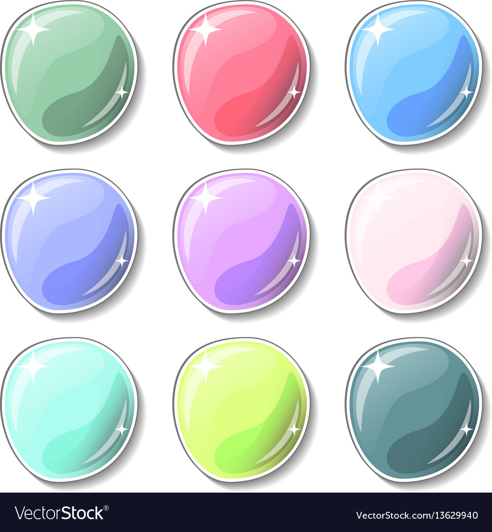 Candy colored buttons with glass surface effect