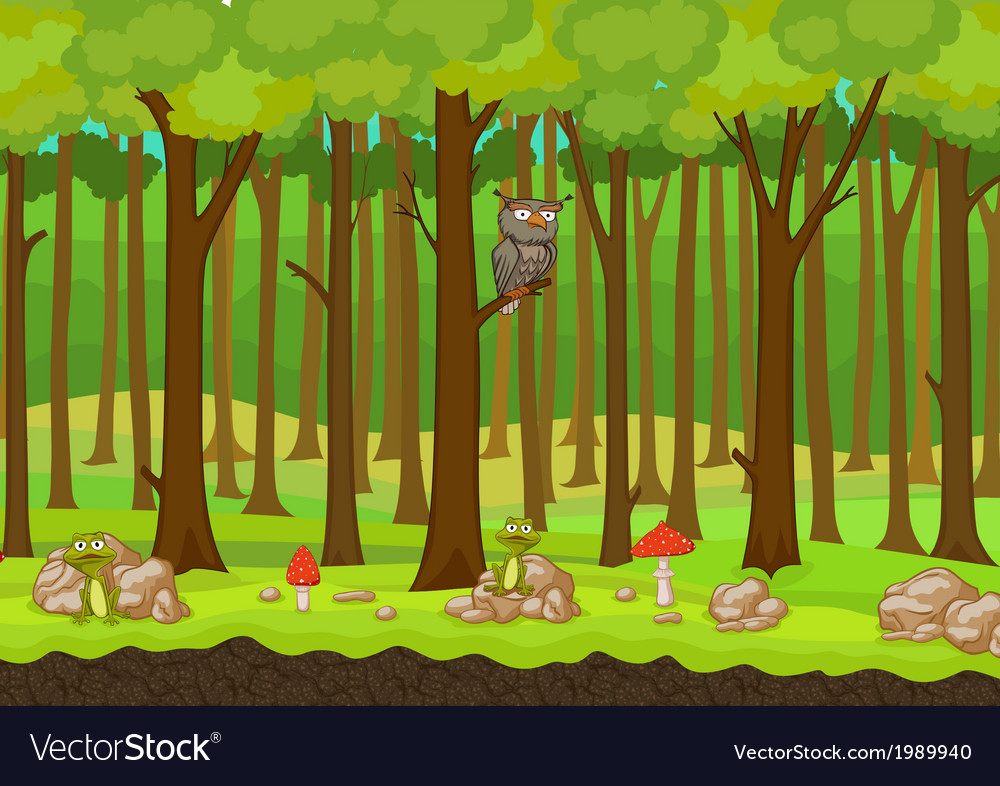 cartoon forest background royalty free vector image rh vectorstock com cartoon forest background clipart cartoon forest background clipart