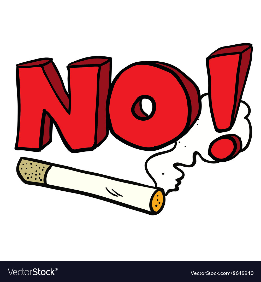 Cartoon No Smoking Cigarette Sign Royalty Free Vector Image