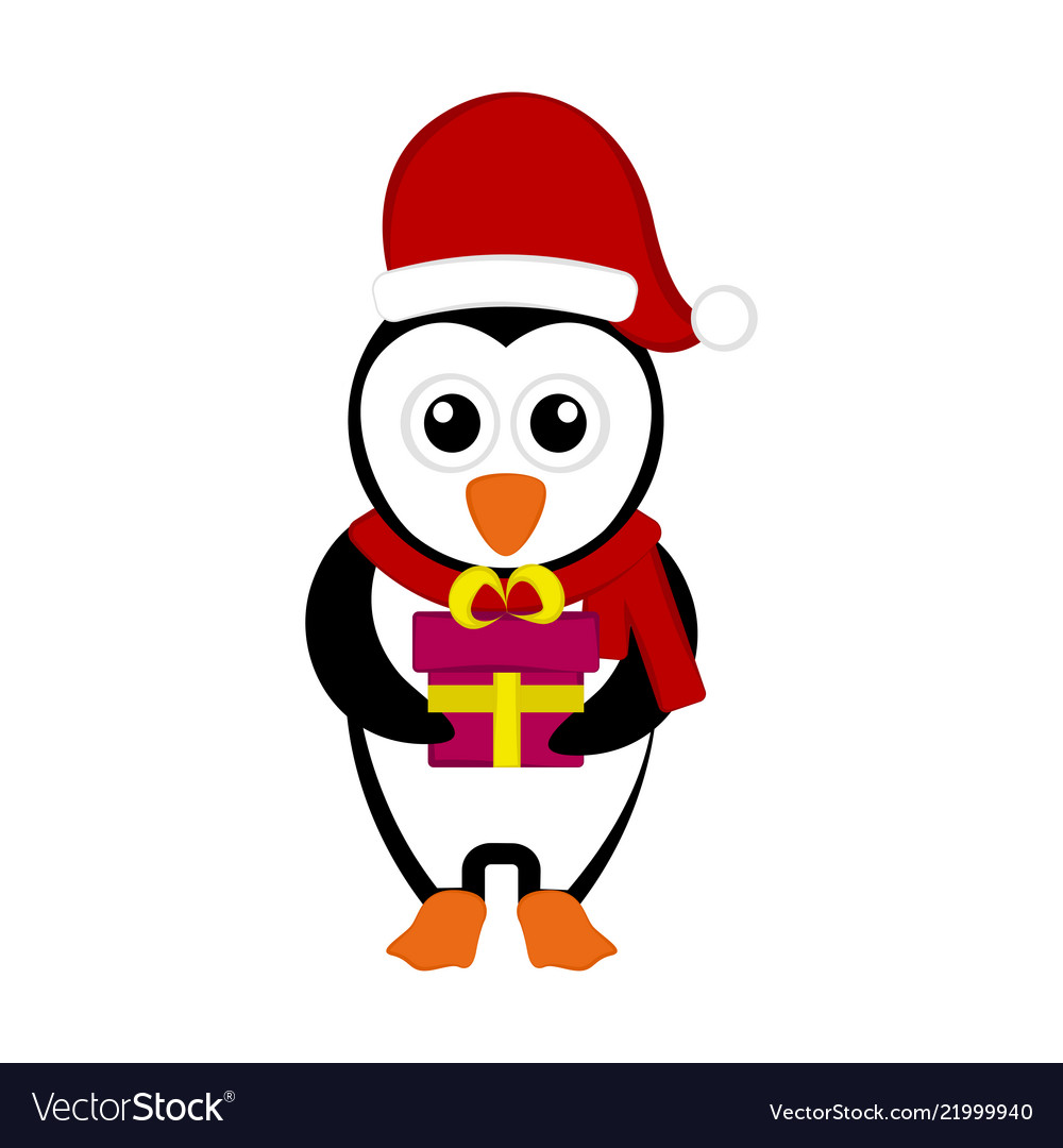 Christmas penguin character holding a present