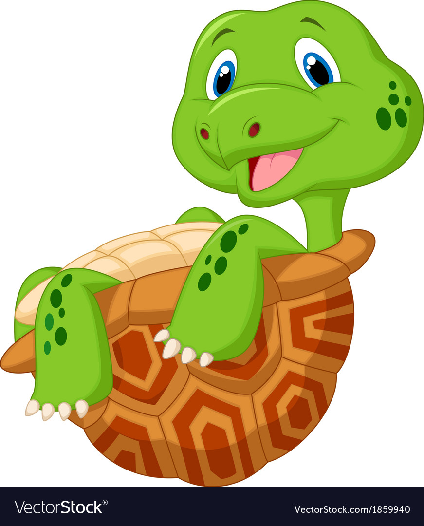 Cute tortoise cartoon vector image