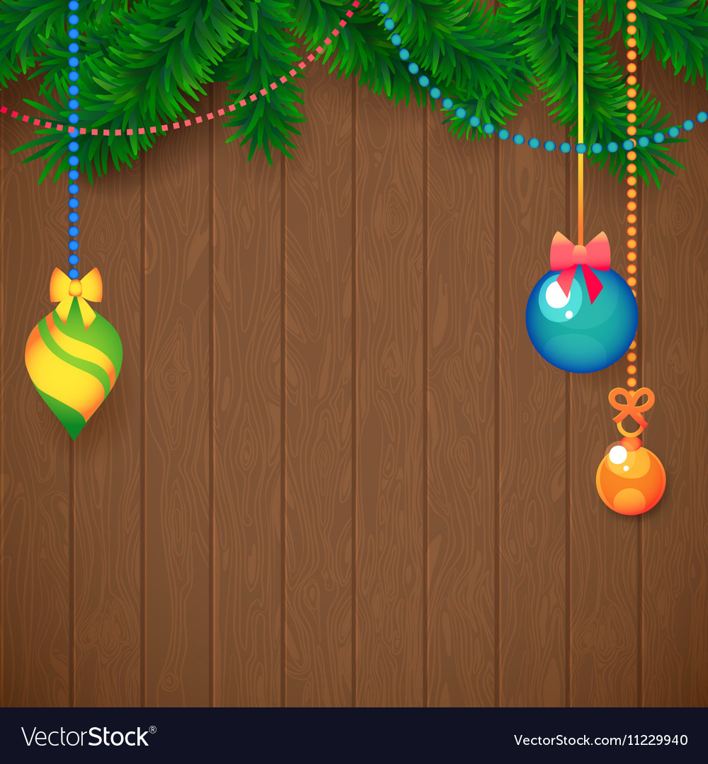 Decorated Merry Christmas Tree Branch Happy New