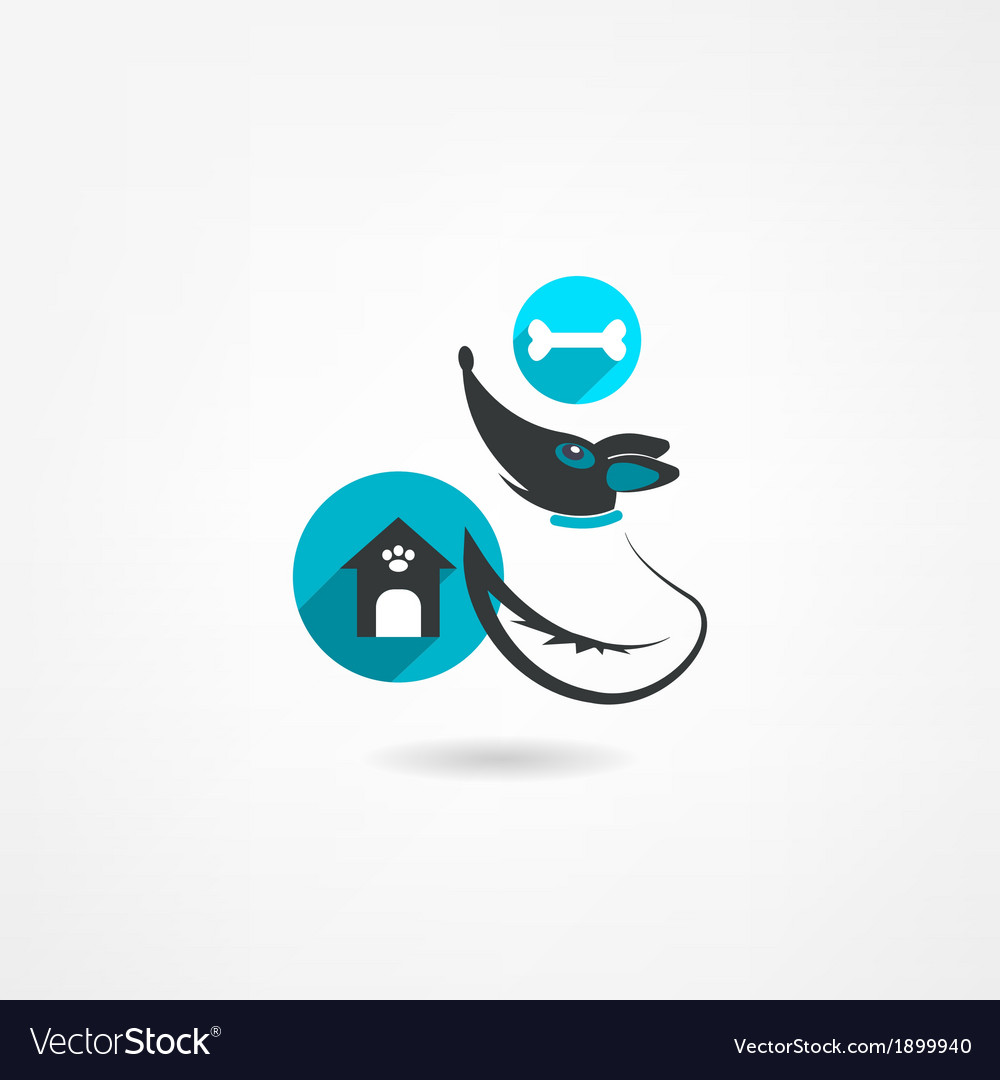 Dog house with a bone icon vector image
