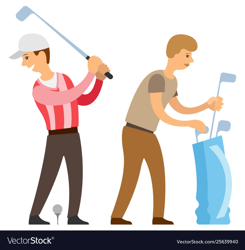 English sport golf player with helper isolated