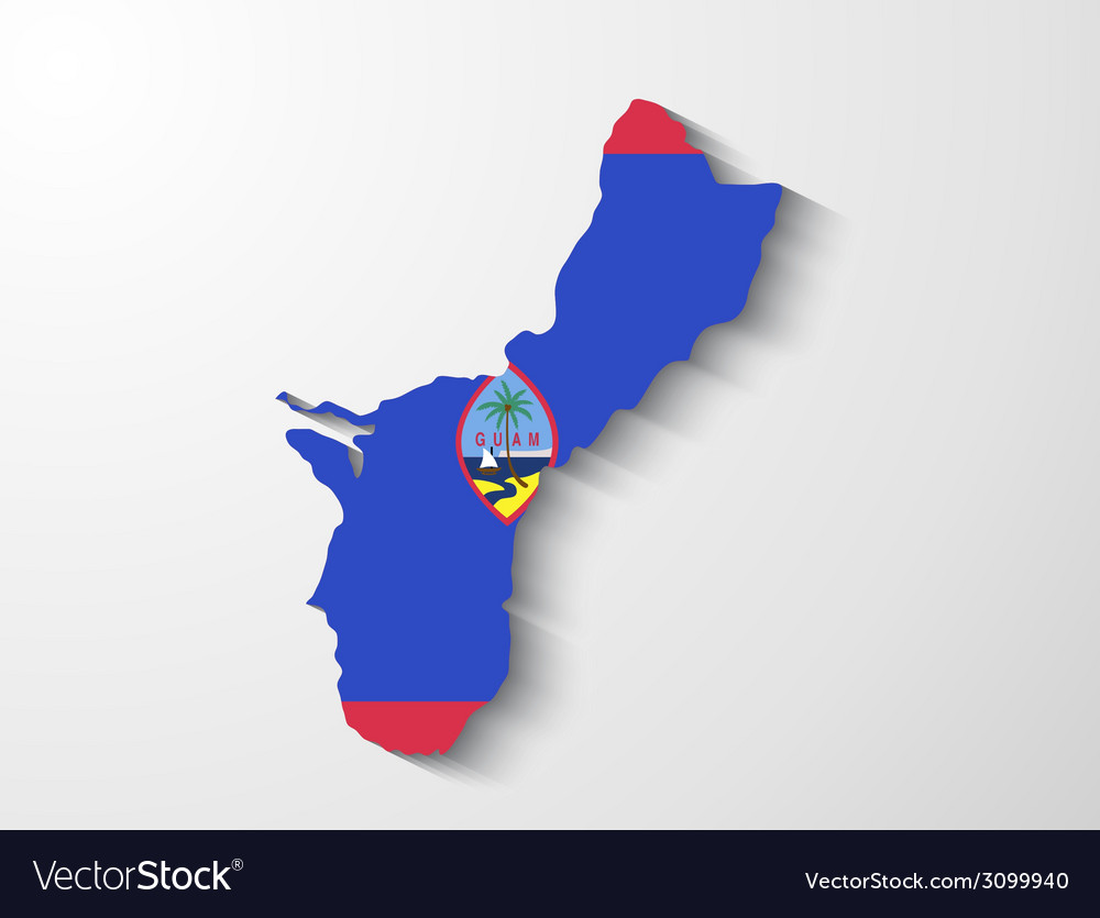 Guam country map with shadow effect presentation