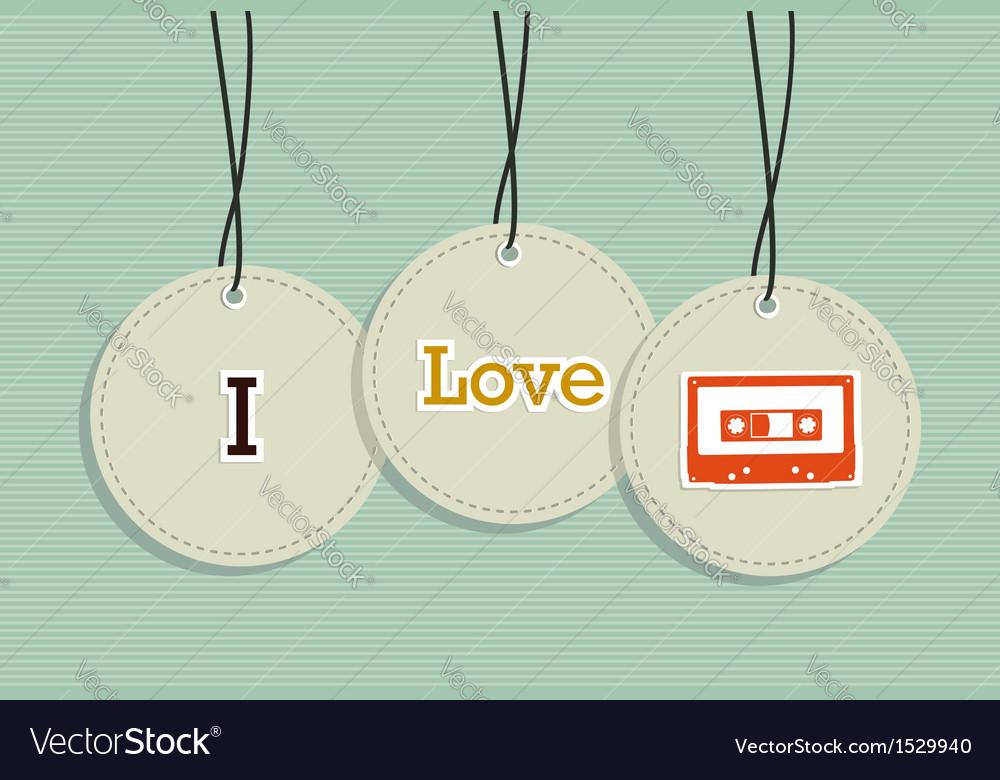 Hanging vintage music badges vector image