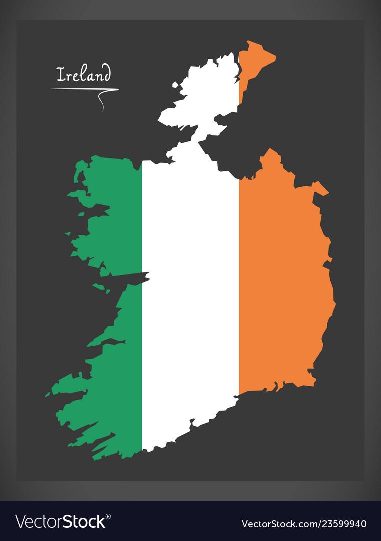 Map Of Ireland Vector.Ireland Map With Irish National Flag