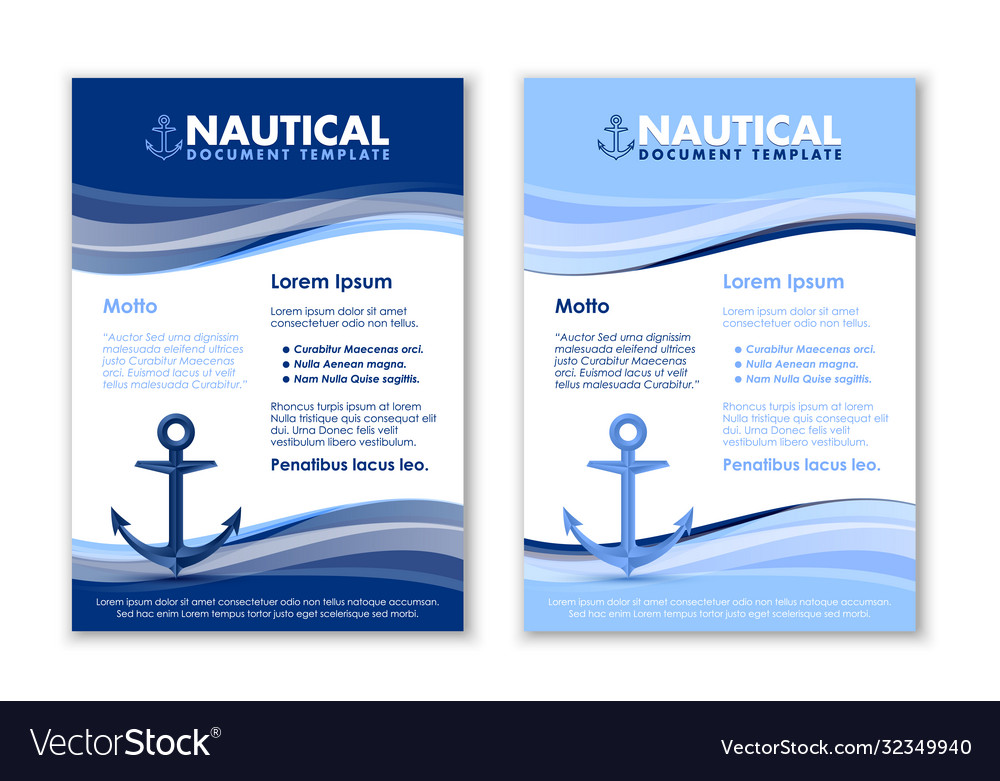 Nautical document templates with ship anchor icon