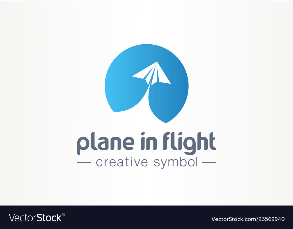 Plane in flight creative symbol concept paper air
