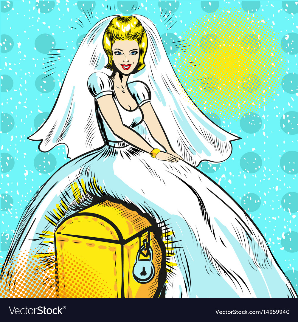 Pop art of bride sitting on