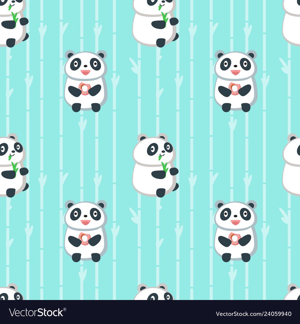 Seamless pattern with cute eating panda