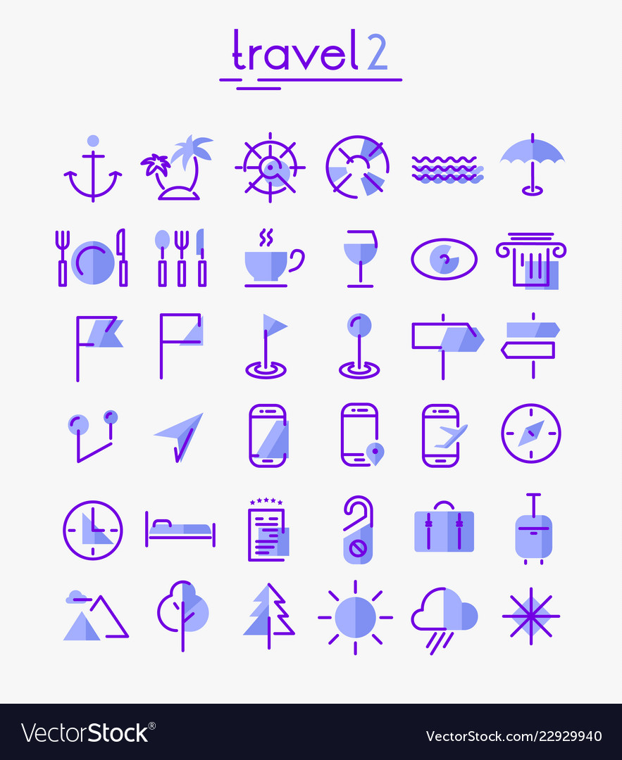 Travel tourism and weather icons set 2