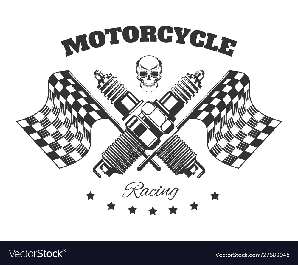 Bikers club isolated icon motorcycle racing vector