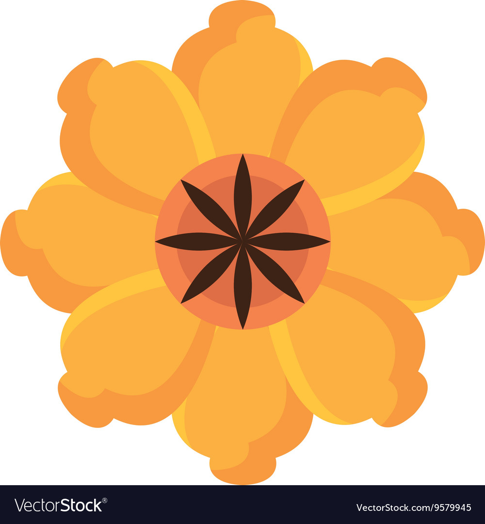 Colorful Yellow And Red Flower Graphic Royalty Free Vector