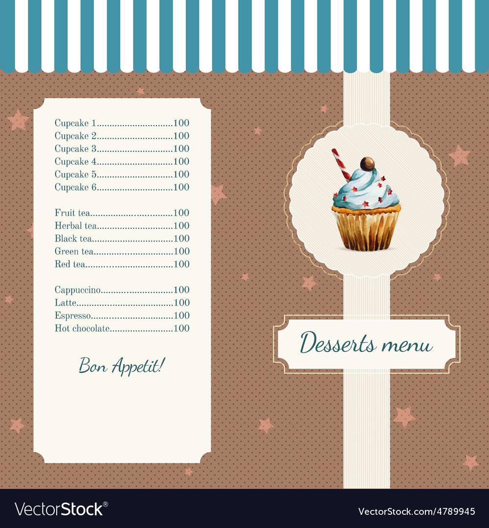 Confectionery menu template with watercolor