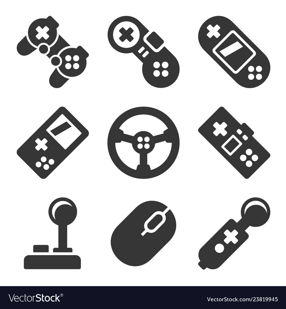 Gamepads icons set game controllers on white