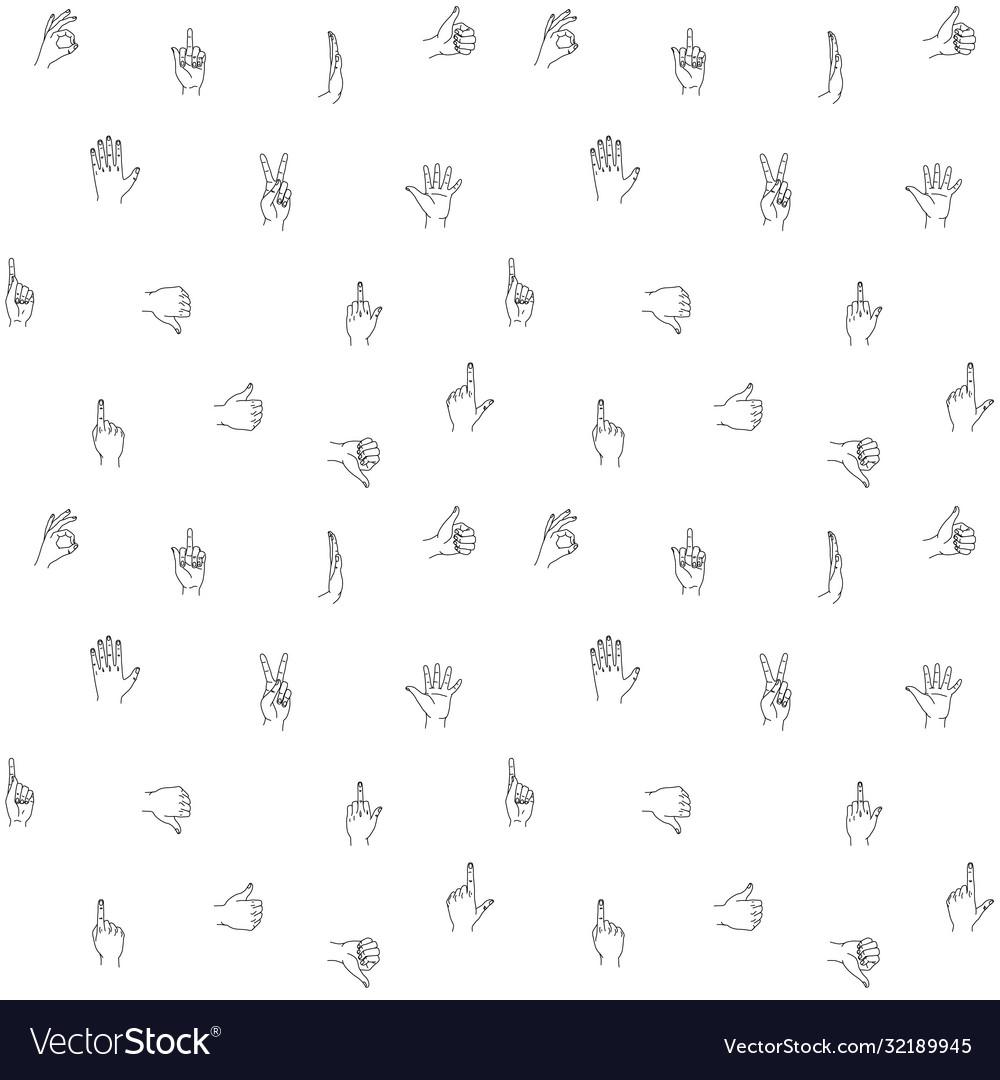 Hands gestures seamless background pattern hand